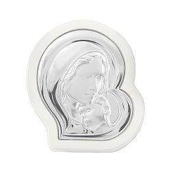 Серебряная икона Богоматерь Католическая на деревянной основе 000146604