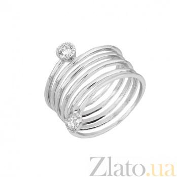 Серебряное кольцо с цирконием Спираль 000028086