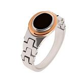 Серебряное кольцо с золотой вставкой и ониксом Говард