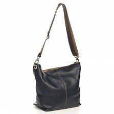 Кожаная сумка на каждый день Genuine Leather 6214 черного цвета на молнии с регулируемой ручкой