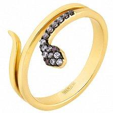 Кольцо в желтом золоте Змейка с фианитами