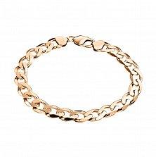 Золотой браслет Торн панцирного плетения с алмазной гранью и насечкой на стыке звеньев, 5мм