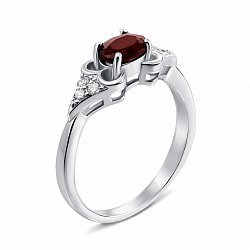 Серебряное кольцо с гранатом и фианитами 000135303