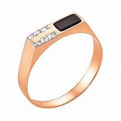 Перстень-печатка из красного золота с черным ониксом и фианитами 000129083