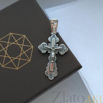 Серебряный крестик Господь Иисус HUF--3434-Ч.ис